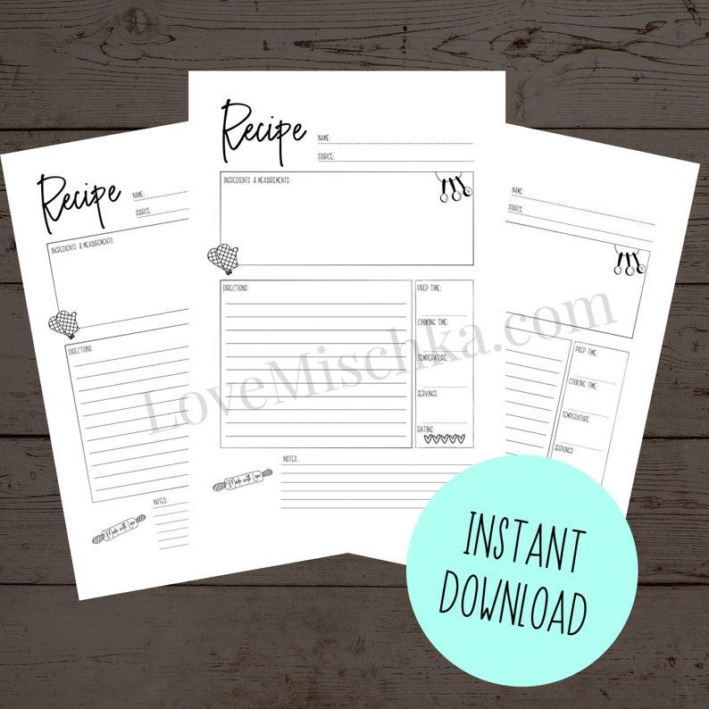 Recipe Printable  Instant Download  Recipe Planner Insert  image 0