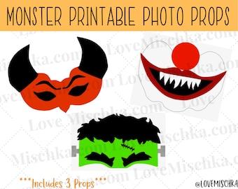 Set of Halloween Photobooth Party Props   Printable Photo Prop   Instant Download   Frankenstein's Monster   Killer Clown   Demon