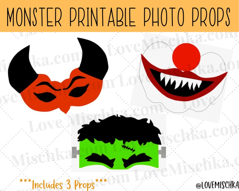 Set of Halloween Photobooth Party Props  Printable Photo Prop image 1