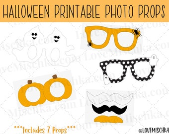 Set of Halloween Photobooth Party Props   Printable Photo Prop   Instant Download   Ghost   Spider   Party Glasses   Mustaches