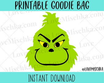Grinch Party Favor Gift Bag Printable   Goodie Bags   Instant Download   Ugly Sweater Party   Christmas   Treat Bags