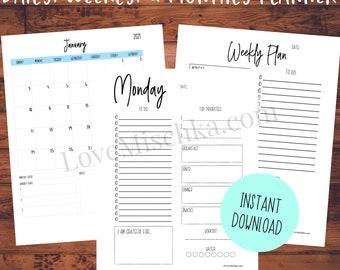 Printable Planner Bundle   2021 Digital Calendar   Daily Planner   Weekly   Monthly Planner   Planner Download   Printable Planner Pages