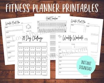 Fitness Planner Printables   Planner Inserts   Workout Tracker   30 Day Challenger   Habit Tracker Download   Meal Planner Printable