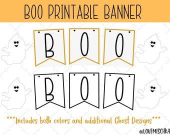Halloween Banner Printable   Instant Download Halloween Decor   Boo Banner   Ghosts