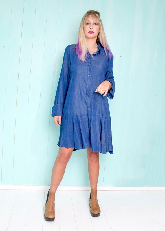 Short denim dress - plus size button down dress with long sleeves - Boho  chic loose dress