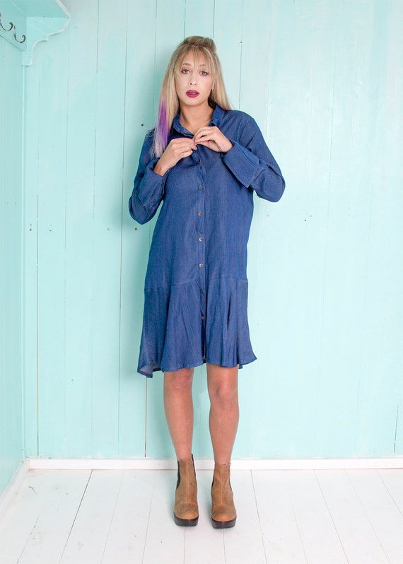 Short denim dress - plus size button down dress with long sleeves - Boho  chic loose dress