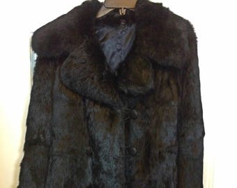 Vintage Black Rabbit Fur Coat Jacket