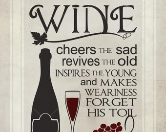 Kitchen Printable, Wine Quote, Kitchen Decor, Wine Cheers The Sad, Home Decor, Gallery Wall, Wall Art Printable, Printable JPEG