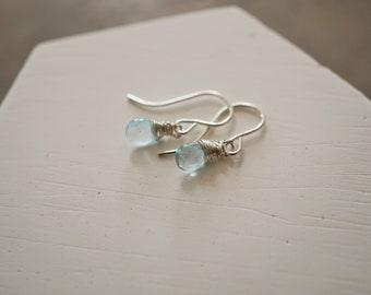Aquamarine gemstone earrings, wire wrapped aquamarine earrings, sterling silver gemstone earrings, tiny earrings, dainty earrings, SoYou