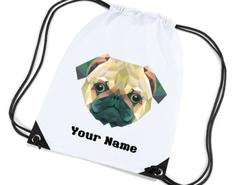 f14f9acef912 Personalised Childrens Gym Sports Kit Bag Pug Design By Inspired Creative  Design