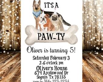 Its A Pawty Dog Themed Birthday Party Invitation