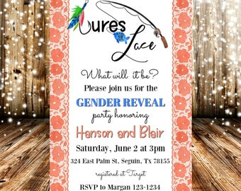 lures or lace watercolor gender reveal party invitation