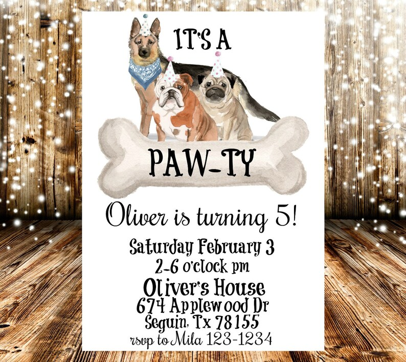Its A Pawty Dog Themed Birthday Party Invitation