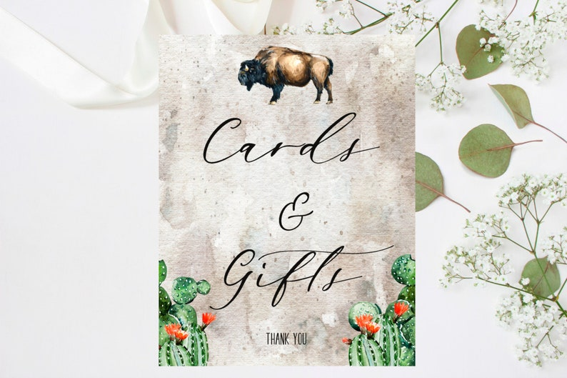 BC123 Buffalo Cactus Southwestern Serape Baby Shower Cards and Gifts Sign