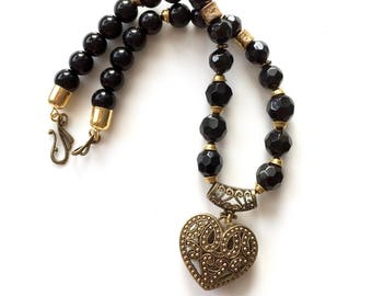 BLACK BEAD NECKLACE Gold Filigree Heart  Statement