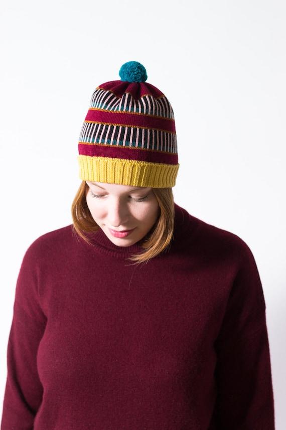212c065d3c4 Knit Hat Hannah Burgundy Pompom Beanie Hat made of merino