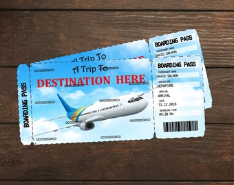 Editable & Printable Vacation Surprise Ticket Boarding Pass, Boarding Pass, Customizable Template, Digital PDF File, Customizable PDF