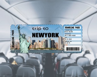 Editable & Printable Ticket to New York, Boarding Pass, Customizable Template, Digital File, Customizable PDF