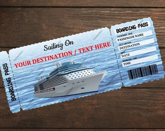 Editable & Printable Cruise Vacation Surprise Ticket Boarding Pass - Customizable Template, Customizable Digital PDF File - Boarding Pass