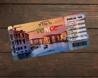 Editable & Printable Vacation Surprise Ticket Boarding Pass to Venice, Boarding Pass, Customizable Template, Digital File, Customizable PDF