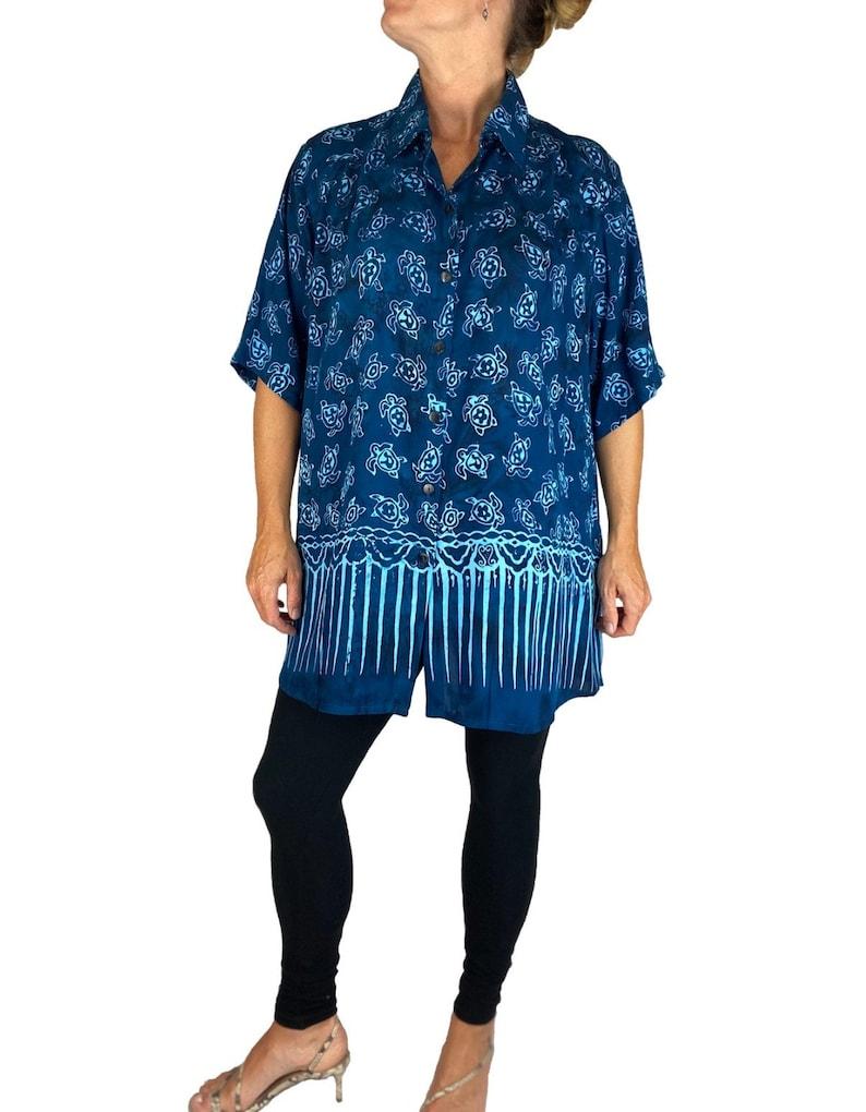 Women/'s Batik Lighter Weighted Gauzy Turtle Bay New Tunic Top L XL 0X 1X 2X 3X 4X 5X 6X