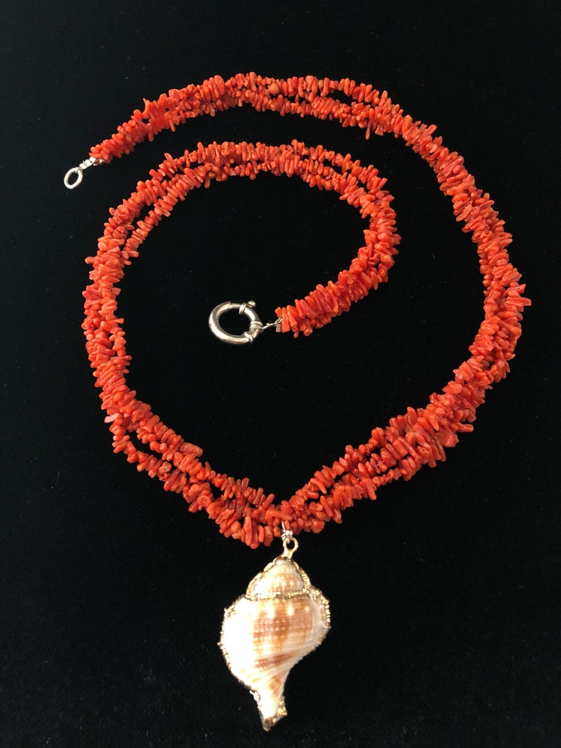 Cleopatrartstones Coral Necklace Sardinia Shell and silver