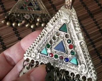 SALE!!  Triangle Kuchi Tribal ATS Pendants, Pair