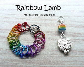Rainbow Lamb Snagfree Ring Stitch Markers   Knitting Accessories      Progress Keeper   Rainbow     Gift For Knitter