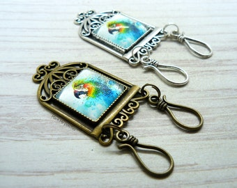 Parrot Watercolor Painting  Portuguese Magnetic Knitting Double Pin   ID Badge Holder   Gift for Portuguese Knitters   Gift for Knitters