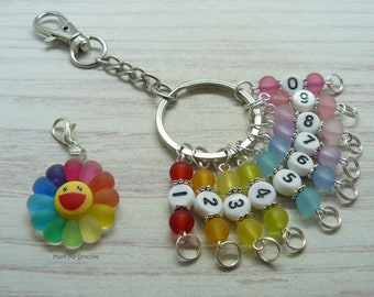 Rainbow Sun Frosted Bead Knitting Crochet Row Counter Keyring, Number Stitch Crochet Markers, Abacus Row Counter, Knitting Gifts, Keychain