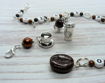 Coffee Lovers Beaded Knitting Row Counter Chain, Number Stitch Markers, Abacus Row Counter, Gift For Knitter, Gift For Coffee Lovers