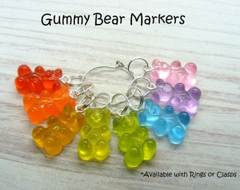 Rainbow Gummy Bear Stitch Markers, Crochet Markers Set, Knitting Accessories, Gift For Crocheters, Gift For Knitter, Knitting Gifts,