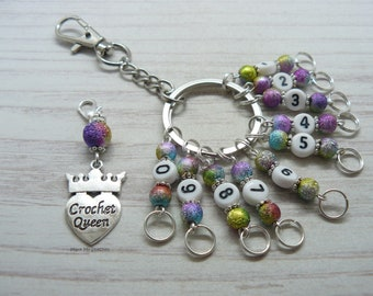 Crochet Queen Stardust Beaded Knitting, Crochet Row Counter Keyring, Number Stitch Crochet Markers, Abacus Row Counter, Knitting Gifts