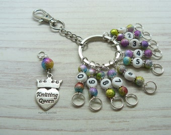 Knitting Queen Stardust Beaded Knitting Row Counter Keyring, Number Stitch Markers, Abacus Row Counter, Knitting Gifts, Keychain
