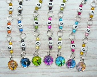 Tree Of Life Beaded Knitting Row Counter Chain, Number Stitch Markers, Abacus Row Counter, Gift For Knitter, Numbered Row Counting Tool