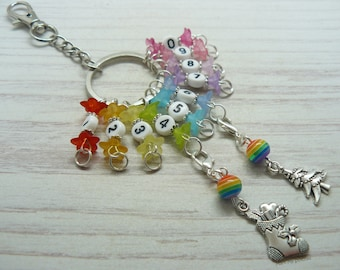 Rainbow Christmas Cracker Beaded Knitting, Crochet Row Counter Keyring, Number Stitch Crochet Markers, Abacus Row Counter, Knitting Gifts
