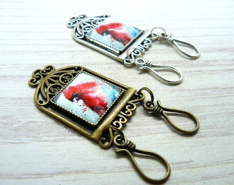 Red Cardinal Watercolor Painting Portuguese Magnetic Knitting Double Pin   ID Badge Holder   Gift for Portuguese Knitters, Gift for Knitters