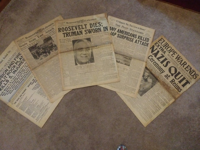 RARE! 5 vintage newspapers 1918 and 1945 - Nazi's - Roosevelt Dies -  Syracuse Rock Plant Explosion