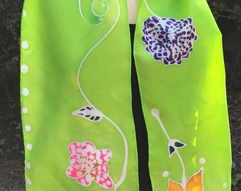 Floral Lime Silk Scarf