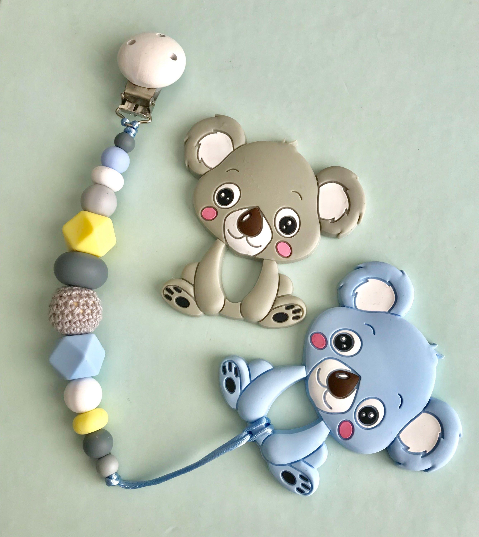 Koala-Rassel mit schnullerclip Silikon kauen Spielzeug | Etsy