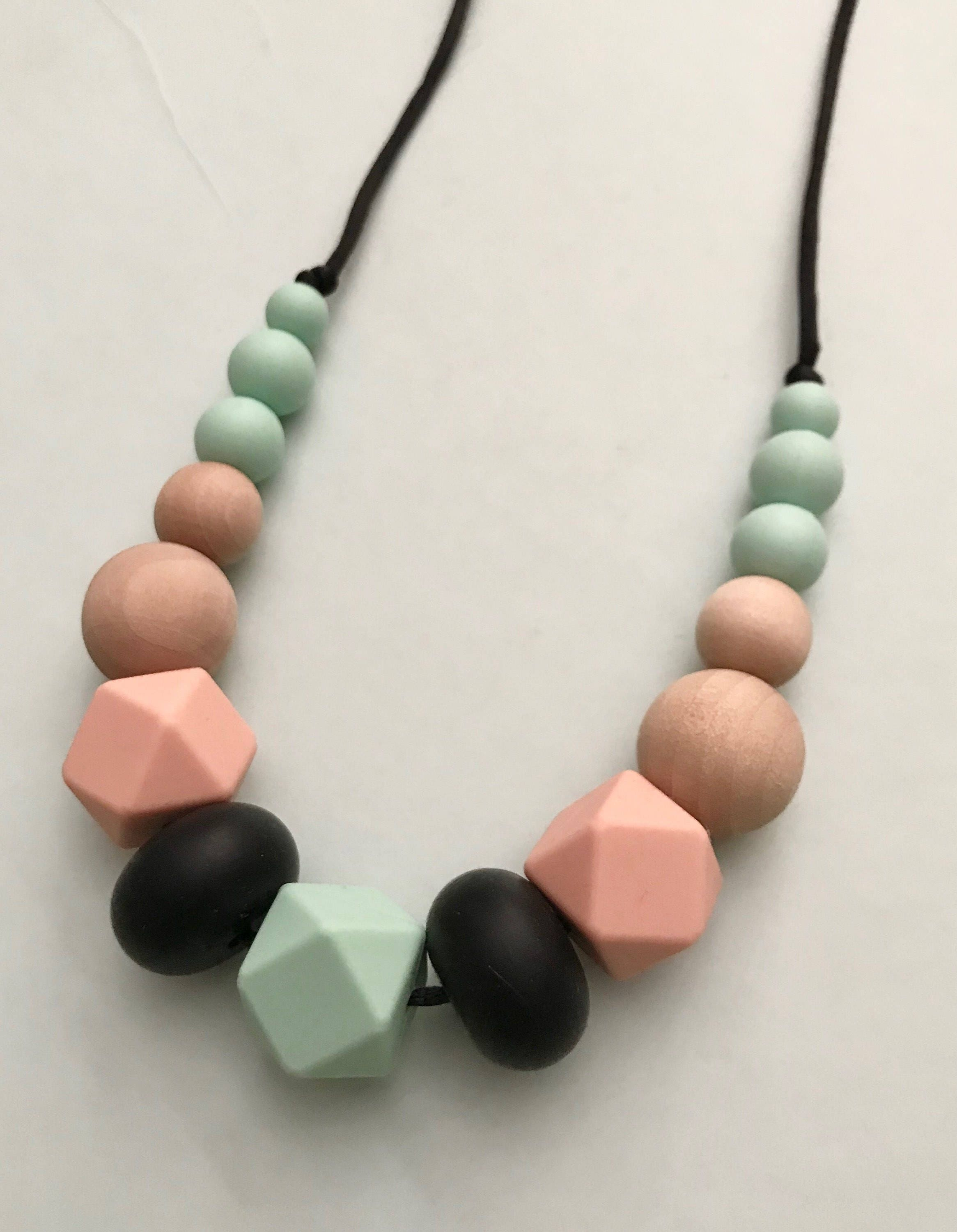 Teething Necklace Wood And Silicone Beads Teething Baby Etsy