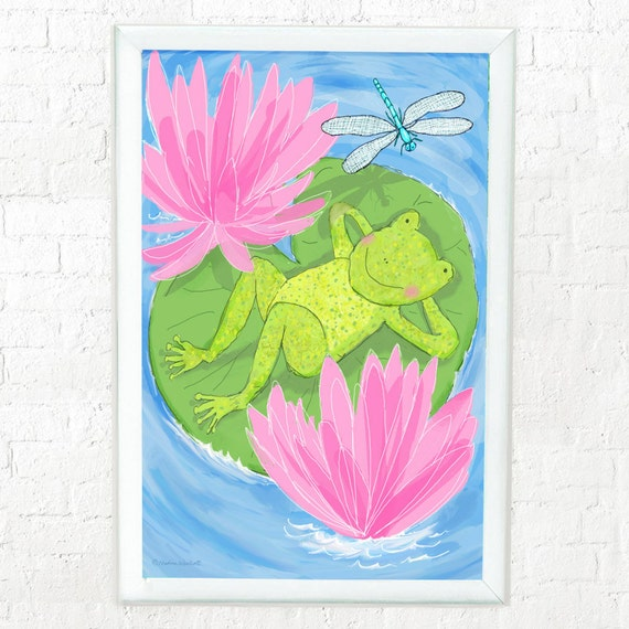 Frog resting on lily pad print for kid's bedroom or nursery wall, childrens decor, frog print, green and pink, art for kids room, dragonfly