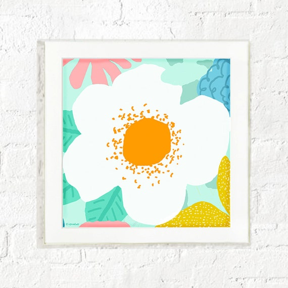 Abstract floral print for nursery wall or girl's room, pastel flower print, kid's wall art, children's room prints, art for girls bedroom.