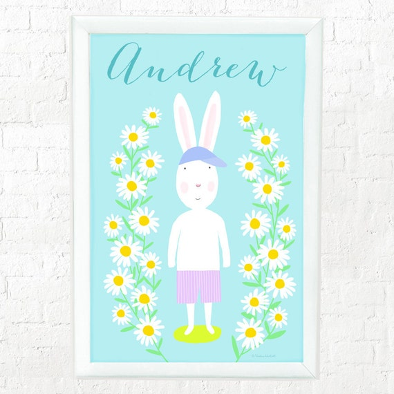 Personalized whimsical bunny art print for boys, custom art for boys, custom baby boy gift, boy's nursery, cute bunny, cute rabbit