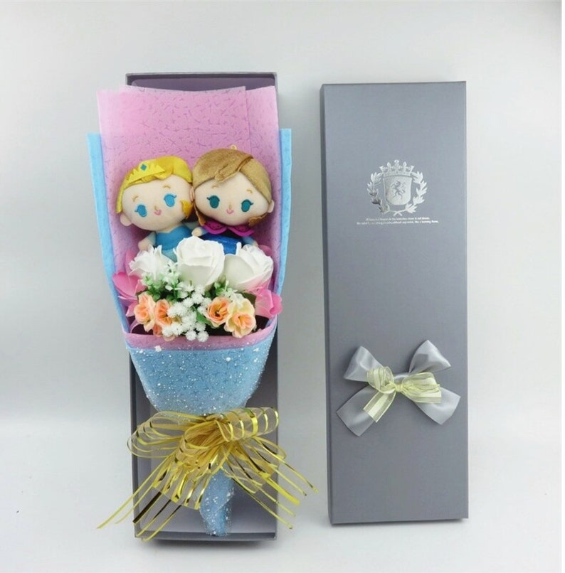 Inspired by Disney Elsa and Anna stuffed cartoon bouquet image 0