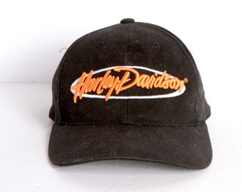 a042f603d92 vintage HARLEY DAVIDSON late 90s black and orange embroidered baseball hat  biker wear