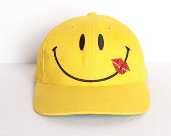9155587d232 vintage SMILEY FACE yellow mid to late 90s dad hat vintage baseball cap