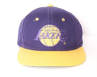 97eb78754d8 vintage LOS ANGELES Lakers purple   gold NBA basketball pro hoops snapback  cap baseball style hat