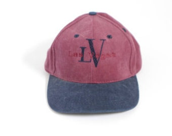 f003a7d8ee7 vintage 90s Las Vegas dad hat MAROON   blue seinfeld style baseball cap