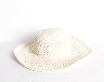 fbaacf6023030 white knit 90s bucket hat Blossom style floppy spring summer hat